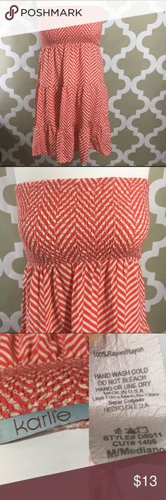 Karlie Red And White Striped Tiered Dress Sz M •  Stretch Top • Tired bottom • Diagonal Red and white Stripes • Bust 12 inches not stretched can stretch too 14 inches  • Length 26 inches  • 100% Rayon karlie Dresses Strapless