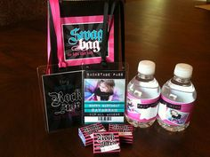 Little rock star party favors: Swag Bags, Back Stage VIP Passes, Water Bottles and Nerds wrappers.