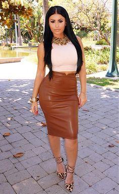 Leather Skirt High Waist Slim Skirt
