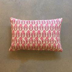 Hand-block printed pillow on heavy weight cotton fabric. 100% cotton dhurrie fabric.