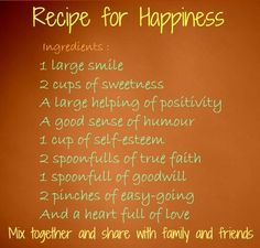 Recipe For Happiness Share With Family And Friends :: For a recipe card (Sunday Dinner)