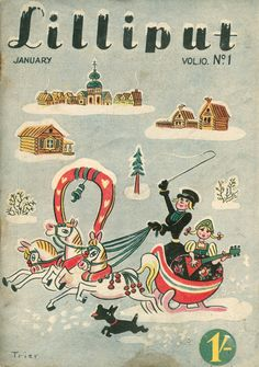 Lilliput Magazine, January 1938, Volume 2, Number 1, Cover art by Walter Trier.