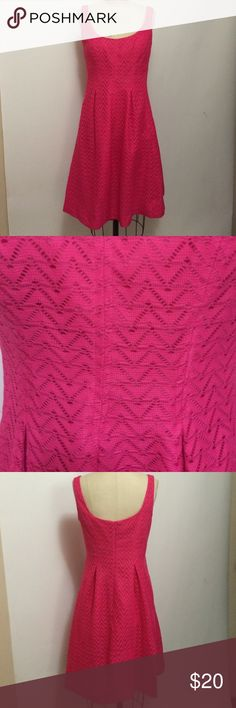 💥Final Price! Nine West Pink Eyelet Dress Sz 8 In new condition Nine West hot pink sleeveless eyelet dress - lined and zips up the back - size 8. Nine West Dresses