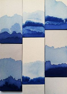 Love these indigo dip tiles! This is another variation on layering a dark indigo on softer blue colours and white - a great way to bring texture and a dynamic feel to your home. Tile Patterns, Textures Patterns, Color Patterns, Art Diy, Japanese Textiles, Monochrom, Art Plastique, Abstract Landscape, Pantone