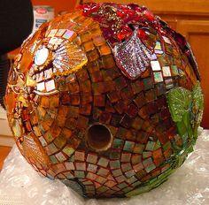 Butterfly Bowling Ball Mosaic by Doreen Bell