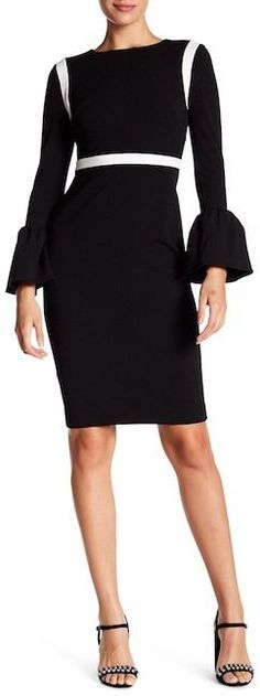 Modern American Designer Colorblock Crepe Shift Dress
