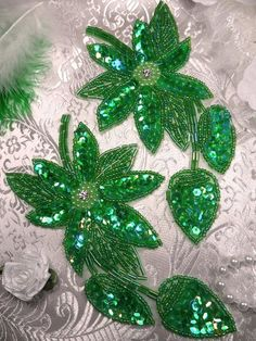 XR51 Green Crystal AB Floral Mirror Pair Beaded by gloryshouse