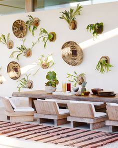 I would love to have a wall of staghorn ferns! Modern Hamptons Exterior - Kelly Behun Long Island Home - ELLE DECOR Outdoor Rooms, Outdoor Dining, Outdoor Decor, Dining Area, Dining Rooms, Outdoor Seating, Rustic Outdoor, Outdoor Areas, Outdoor Chairs