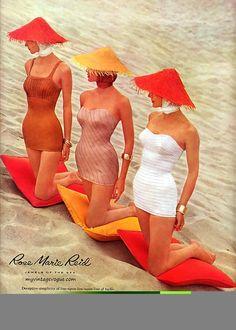 Her Vintage Summer Foto Fashion, 1950s Fashion, Fashion History, Vintage Fashion, Beach Fashion, Swimwear Fashion, Rare Fashion, Victorian Fashion, Trendy Fashion