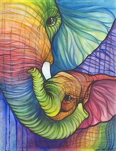 Rainbow Elephant Wall Decal of Colorful by PaintRainbowPrints