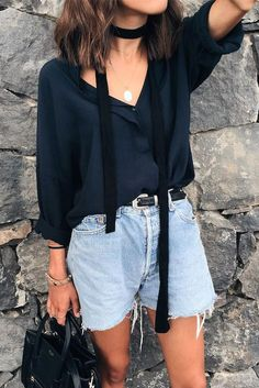 simple but cute outfit with the skinny neck scarf