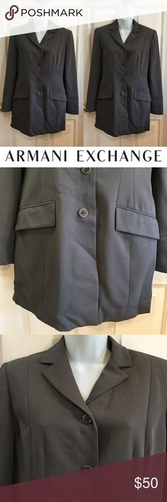 | Armani Exchange | 4 Button Suit Coat Excellent condition for only being worn a few times. A few stains on the elbow of the right sleeve. Should come easily, I just never tried. Reflected in the price. Not noticeable when wearing. Shell is made from 60% wool and 40% rayon. Lining is made from 100% acetate. Dry clean only. Armani Exchange Jackets & Coats Blazers