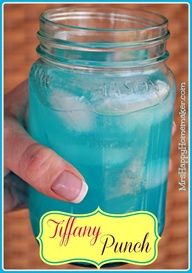 Tiffany Punch - Just 2 Ingredients and tastes like a jolly rancher! Mix one part blue Hawaiian Punch and one part country time yellow lemonade.  Thats it!