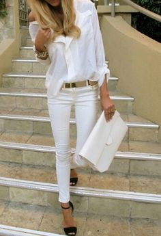 White on white (slouchy top, structured/slim bottom = perfect!), gold belt, black high-heeled sandals, eggshell clutch