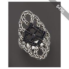 John Hardy Classic Chain Silver Lava Large Saddle Ring with Black Sapphire - Bloomingdale's Exclusive