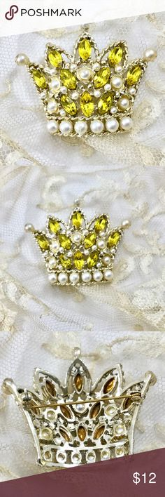 Crown with Yellow Rhinestones Faux Pearls Brooch Cute gold tone crown brooch! Jewelry Brooches