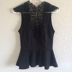 Black Lace Peplum top Worn twice! Once for a Christmas Party and another for a family Christmas celebration! Wonderfully comfortable! Very chic! Have pictures of it modeled! I love it! Just have no other times to wear it! Perfect for a dressy occasion! Keyhole back! Charlotte Russe Tops