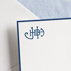 Bone White Empire Card with navy Border and Custom Navy Monogram, Envelope Lined with Antique Blue Tissue.