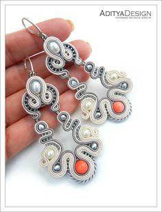 Soutache Earrings, Gray Pink, Dangle Earrings, Beaded Earrings, Pink Earrings, Wedding Jewelry, Pink Jewelry