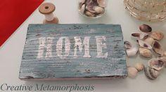 """Creative Metamorphosis: Деревянная табличка """"HOME"""" в морском стиле"""