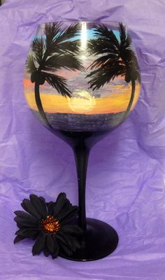 CHECK OUT THE TISSUE PAPER BACKDROP!!! Beach hand painted large wine Goblet with fish charm ring …