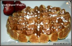 Greek Yogurt Waffles -- light and airy but crispy on the outside. Very good and easy. Doubled the recipe and it made 3 batches from my waffle iron waffles plus a little leftover). <---- other pinner. Waffle Iron Recipes, Low Calorie Waffle Recipe, Greek Yogurt Recipes, Pancakes And Waffles, Breakfast Dessert, High Protein Recipes, Love Food, Sweet Recipes, Food And Drink
