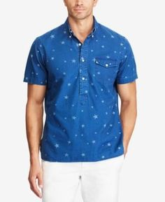Polo Ralph Lauren Men's Big & Tall Classic Fit Popover Shirt - Star Print