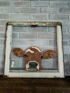 Cow I painted on an old window frame. - Cow I painted on an old window frame. Old Window Crafts, Old Window Projects, Art Projects, Window Ideas, Garden Projects, Painted Window Art, Window Pane Art, Painted Window Screens, Painting On Screens