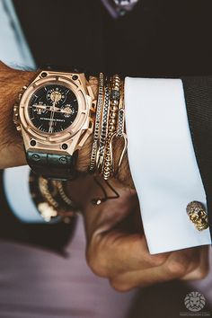 #watches #cufflinks #refinedbadass Love the skull cufflinks...and the bracelets. My kind of sexy.