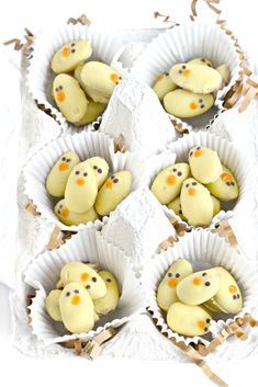 Dip almonds into nondairy white chocolate and you have the cutest  Easter Almond Baby Chicks!