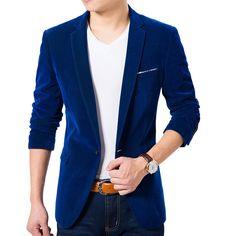 Cheap blue velvet blazer, Buy Quality velvet blazer men directly from China blazer fashion men Suppliers: High Quality Royal Blue Velvet Blazer Men 2017 New Autumn Korean Fashion Mens Slim Single Button Blazer Jacket Wedding Blazer Blue Blazer Outfit, Casual Blazer, Blazer Outfits, Blazer Jacket, Gold Blazer, Casual Suit, Jacket Men, Work Casual, Casual Outfits