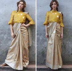 Beautiful Jute -silk Saree with western cut blouse.