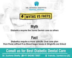 Diabetes reduces your ability to fight bacteria. If you don't remove plaque with regular brushing and flossing, Situations can be Worse. Get Your Dental Checkup Done at our Dr Sushma Shetty's Dental Studio For Details : 84240 73007 Vakola, Santacruz Dental Check Up, Dental Problems, Care Plans, Brushing, Dental Care, Diabetes, You Got This, How To Remove, Facts