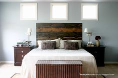 You searched for diy rustic headboard tutorial - Because I Like To Decorate Barn Board Headboard, Rustic Headboard Diy, Plywood Headboard, Headboard Ideas, Bedroom Ideas, Wooden Headboards, Tufted Headboards, Bedroom Inspiration, Bed Without Headboard