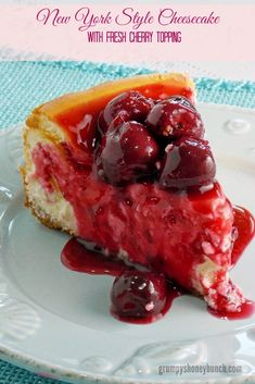 New York Style Cheesecake with Fresh Cherries at The Life and Loves of Grumpy's Honeybunch