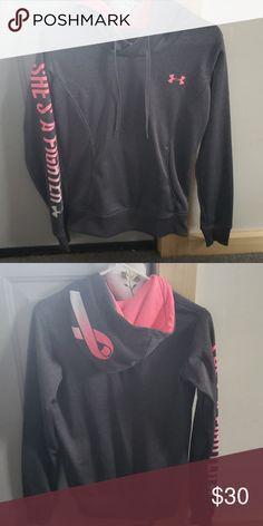 Underarmour breast cancer awareness sweatshirt Underarmour hoodie barely  worn! Under Armour Tops Sweatshirts   Hoodies 58efc902e