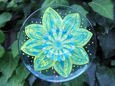 Garden Art - Glass Plate Flower - Hand Painted in Blue & Citron  - Garden Decor - Garden Sculpture - Outdoor Yard Art - Sun Catcher on Etsy, Sold
