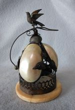 c1870s Victorian French Mother of Pearl Sea Shell Dinner Bell with Bird