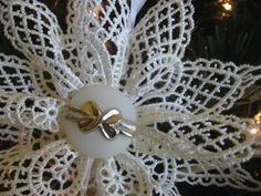 White Lace Snowflake Christmas Ornaments Set of by SnowNoseCrafts