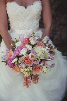 Southern wedding - coral and pink bouquet
