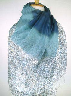 S176 Hand-painted Thai Silk Art - Tonal Blue Ombre