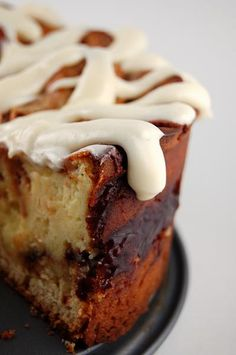 Cinnamon Roll Cheesecake with Cream Cheese Frosting: Best of both worlds, half cheesecake, half cinnamone roll and topped with cream cheese frosting.