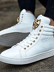Sapatos Masculinos - Tênis Social - Preto / Vermelho / Branco - Gliter / PVC - Ar-Livre / Casual