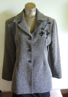 Coldwater Creek Gray Tweed Lined Blazer Jacket Size PS EUC Made in USA #ColdwaterCreek #BasicJacket