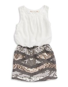 Kids' | Girls 7-16 | Girls 7-16 Sequined Blouson Dress | Lord and Taylor