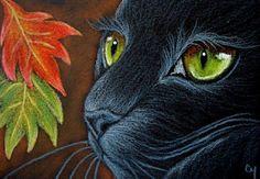 """Black Cat with Autumn Leaves"" par Cyra R. Cancel"