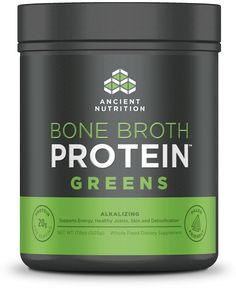 Bone broth protein supplement (20 grams protein) with equivalent of  20 servings of green leafy vegetables. From ancientnutrition.com recommended by Dr. Axe