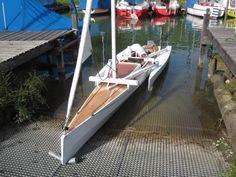 Trimaran Kit with Folding Akas Kayak Boats, Canoe And Kayak, Yacht Design, Boat Design, Utility Boat, Outrigger Canoe, Classic Wooden Boats, Model Boat Plans, Boat Kits