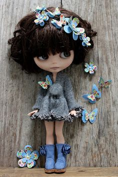 Blythe with hair and clothes accessories  from Taylor Couture