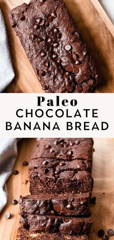 This Paleo Chocolate Banana Bread is easy to make super moist and made with healthy ingredients. It's loaded with rich chocolatey flavor you won't be able to get enough of! Gluten free dairy free and kid approved too! Paleo Banana Bread, Chocolate Chip Banana Bread, Paleo Bread, Dairy Free Chocolate Chips, Healthy Chocolate, Paleo Sweets, Paleo Dessert, Waffle Ice Cream, Clean Eating Salads